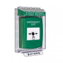 GLR131EX-EN STI Green Indoor/Outdoor Low Profile Flush Mount Key-to-Reset Push Button with EMERGENCY EXIT Label English