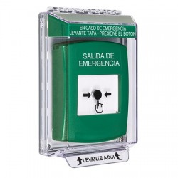 GLR131EX-ES STI Green Indoor/Outdoor Low Profile Flush Mount Key-to-Reset Push Button with EMERGENCY EXIT Label Spanish