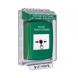 GLR131HV-EN STI Green Indoor/Outdoor Low Profile Flush Mount Key-to-Reset Push Button with HVAC SHUT-DOWN Label English