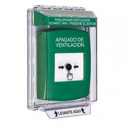 GLR131HV-ES STI Green Indoor/Outdoor Low Profile Flush Mount Key-to-Reset Push Button with HVAC SHUT-DOWN Label Spanish