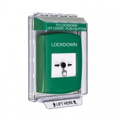 GLR131LD-EN STI Green Indoor/Outdoor Low Profile Flush Mount Key-to-Reset Push Button with LOCKDOWN Label English