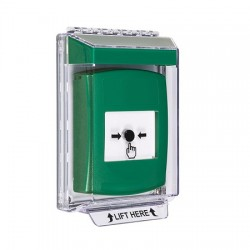 GLR131NT-EN STI Green Indoor/Outdoor Low Profile Flush Mount Key-to-Reset Push Button with No Text Label English