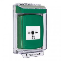 GLR131NT-ES STI Green Indoor/Outdoor Low Profile Flush Mount Key-to-Reset Push Button with No Text Label Spanish