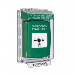 GLR131PO-EN STI Green Indoor/Outdoor Low Profile Flush Mount Key-to-Reset Push Button with EMERGENCY POWER OFF Label English