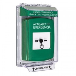 GLR131PO-ES STI Green Indoor/Outdoor Low Profile Flush Mount Key-to-Reset Push Button with EMERGENCY POWER OFF Label Spanish
