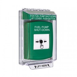GLR131PS-EN STI Green Indoor/Outdoor Low Profile Flush Mount Key-to-Reset Push Button with FUEL PUMP SHUT-DOWN Label English