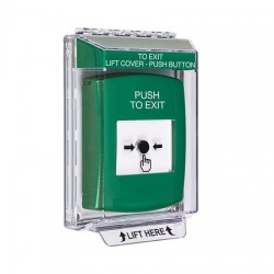 GLR131PX-EN STI Green Indoor/Outdoor Low Profile Flush Mount Key-to-Reset Push Button with PUSH TO EXIT Label English