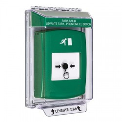 GLR131RM-ES STI Green Indoor/Outdoor Low Profile Flush Mount Key-to-Reset Push Button with Running Man Icon Spanish