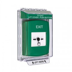 GLR131XT-EN STI Green Indoor/Outdoor Low Profile Flush Mount Key-to-Reset Push Button with EXIT Label English