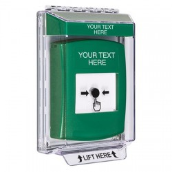 GLR131ZA-EN STI Green Indoor/Outdoor Low Profile Flush Mount Key-to-Reset Push Button with Non-Returnable Custom Text Label English