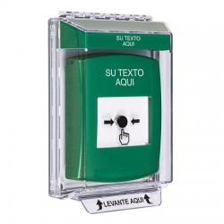GLR131ZA-ES STI Green Indoor/Outdoor Low Profile Flush Mount Key-to-Reset Push Button with Non-Returnable Custom Text Label Spanish