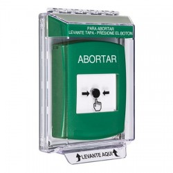 GLR141AB-ES STI Green Indoor/Outdoor Low Profile Flush Mount w/ Sound Key-to-Reset Push Button with ABORT Label Spanish
