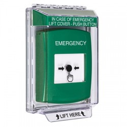 GLR141EM-EN STI Green Indoor/Outdoor Low Profile Flush Mount w/ Sound Key-to-Reset Push Button with EMERGENCY Label English