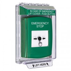 GLR141ES-EN STI Green Indoor/Outdoor Low Profile Flush Mount w/ Sound Key-to-Reset Push Button with EMERGENCY STOP Label English