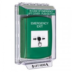 GLR141EX-EN STI Green Indoor/Outdoor Low Profile Flush Mount w/ Sound Key-to-Reset Push Button with EMERGENCY EXIT Label English