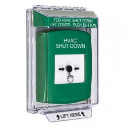 GLR141HV-EN STI Green Indoor/Outdoor Low Profile Flush Mount w/ Sound Key-to-Reset Push Button with HVAC SHUT-DOWN Label English