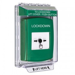 GLR141LD-EN STI Green Indoor/Outdoor Low Profile Flush Mount w/ Sound Key-to-Reset Push Button with LOCKDOWN Label English