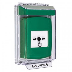 GLR141NT-EN STI Green Indoor/Outdoor Low Profile Flush Mount w/ Sound Key-to-Reset Push Button with No Text Label English
