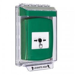 GLR141NT-ES STI Green Indoor/Outdoor Low Profile Flush Mount w/ Sound Key-to-Reset Push Button with No Text Label Spanish