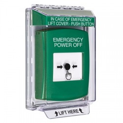 GLR141PO-EN STI Green Indoor/Outdoor Low Profile Flush Mount w/ Sound Key-to-Reset Push Button with EMERGENCY POWER OFF Label English