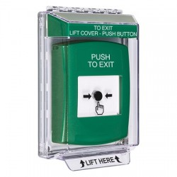 GLR141PX-EN STI Green Indoor/Outdoor Low Profile Flush Mount w/ Sound Key-to-Reset Push Button with PUSH TO EXIT Label English