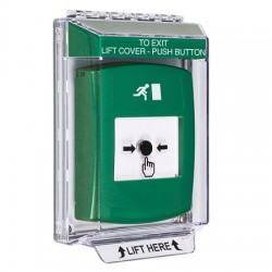 GLR141RM-EN STI Green Indoor/Outdoor Low Profile Flush Mount w/ Sound Key-to-Reset Push Button with Running Man Icon English