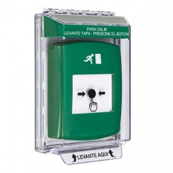 GLR141RM-ES STI Green Indoor/Outdoor Low Profile Flush Mount w/ Sound Key-to-Reset Push Button with Running Man Icon Spanish