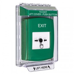 GLR141XT-EN STI Green Indoor/Outdoor Low Profile Flush Mount w/ Sound Key-to-Reset Push Button with EXIT Label English
