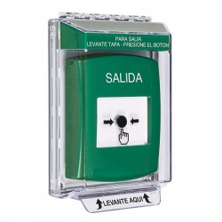 GLR141XT-ES STI Green Indoor/Outdoor Low Profile Flush Mount w/ Sound Key-to-Reset Push Button with EXIT Label Spanish