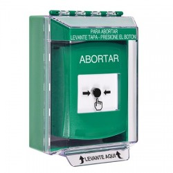 GLR171AB-ES STI Green Indoor/Outdoor Low Profile Surface Mount Key-to-Reset Push Button with ABORT Label Spanish