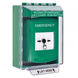 GLR171EM-EN STI Green Indoor/Outdoor Low Profile Surface Mount Key-to-Reset Push Button with EMERGENCY Label English