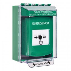 GLR171EM-ES STI Green Indoor/Outdoor Low Profile Surface Mount Key-to-Reset Push Button with EMERGENCY Label Spanish