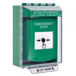 GLR171ES-EN STI Green Indoor/Outdoor Low Profile Surface Mount Key-to-Reset Push Button with EMERGENCY STOP Label English