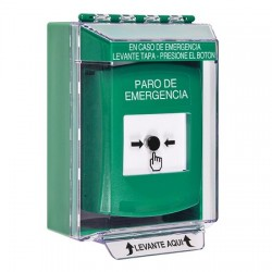 GLR171ES-ES STI Green Indoor/Outdoor Low Profile Surface Mount Key-to-Reset Push Button with EMERGENCY STOP Label Spanish