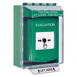 GLR171EV-EN STI Green Indoor/Outdoor Low Profile Surface Mount Key-to-Reset Push Button with EVACUATION Label English