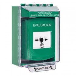 GLR171EV-ES STI Green Indoor/Outdoor Low Profile Surface Mount Key-to-Reset Push Button with EVACUATION Label Spanish