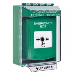 GLR171EX-EN STI Green Indoor/Outdoor Low Profile Surface Mount Key-to-Reset Push Button with EMERGENCY EXIT Label English