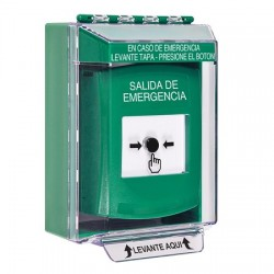 GLR171EX-ES STI Green Indoor/Outdoor Low Profile Surface Mount Key-to-Reset Push Button with EMERGENCY EXIT Label Spanish