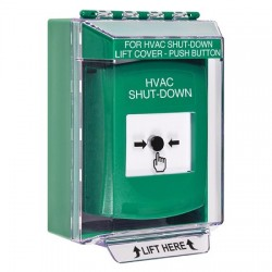 GLR171HV-EN STI Green Indoor/Outdoor Low Profile Surface Mount Key-to-Reset Push Button with HVAC SHUT-DOWN Label English