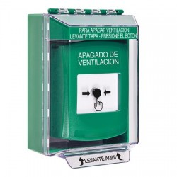 GLR171HV-ES STI Green Indoor/Outdoor Low Profile Surface Mount Key-to-Reset Push Button with HVAC SHUT-DOWN Label Spanish