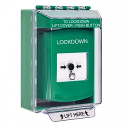GLR171LD-EN STI Green Indoor/Outdoor Low Profile Surface Mount Key-to-Reset Push Button with LOCKDOWN Label English