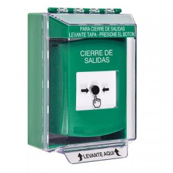 GLR171LD-ES STI Green Indoor/Outdoor Low Profile Surface Mount Key-to-Reset Push Button with LOCKDOWN Label Spanish