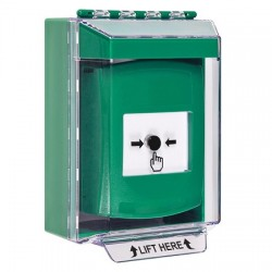 GLR171NT-EN STI Green Indoor/Outdoor Low Profile Surface Mount Key-to-Reset Push Button with No Text Label English