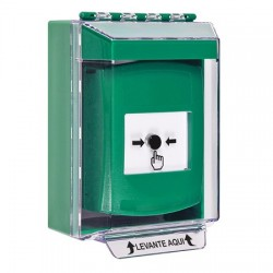 GLR171NT-ES STI Green Indoor/Outdoor Low Profile Surface Mount Key-to-Reset Push Button with No Text Label Spanish