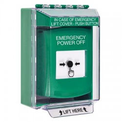 GLR171PO-EN STI Green Indoor/Outdoor Low Profile Surface Mount Key-to-Reset Push Button with EMERGENCY POWER OFF Label English