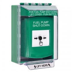 GLR171PS-EN STI Green Indoor/Outdoor Low Profile Surface Mount Key-to-Reset Push Button with FUEL PUMP SHUT-DOWN Label English