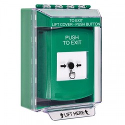 GLR171PX-EN STI Green Indoor/Outdoor Low Profile Surface Mount Key-to-Reset Push Button with PUSH TO EXIT Label English