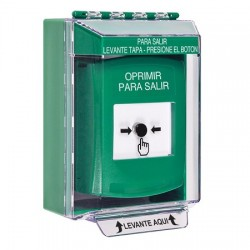 GLR171PX-ES STI Green Indoor/Outdoor Low Profile Surface Mount Key-to-Reset Push Button with PUSH TO EXIT Label Spanish