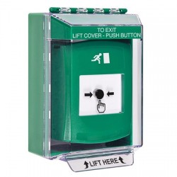 GLR171RM-EN STI Green Indoor/Outdoor Low Profile Surface Mount Key-to-Reset Push Button with Running Man Icon English