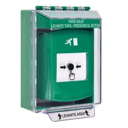 GLR171RM-ES STI Green Indoor/Outdoor Low Profile Surface Mount Key-to-Reset Push Button with Running Man Icon Spanish